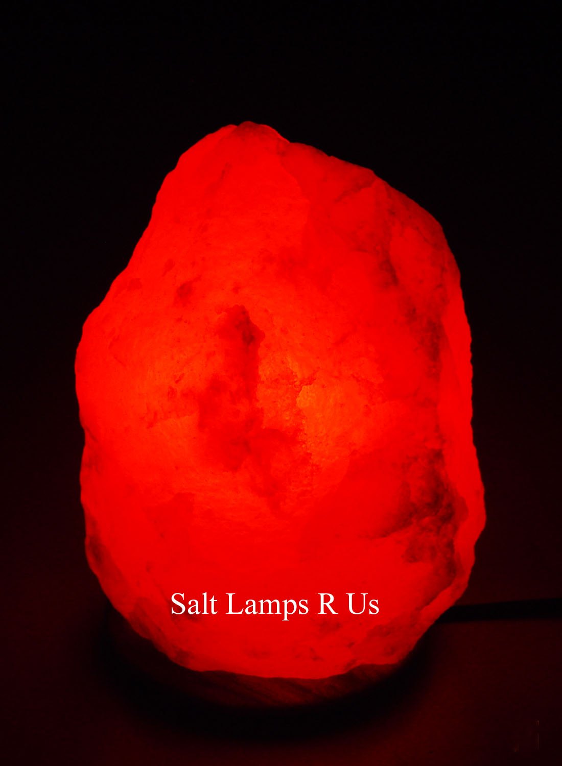White Salt Lamp with an Att/Wooden Base 2-3kg Saltlamps-R-Us