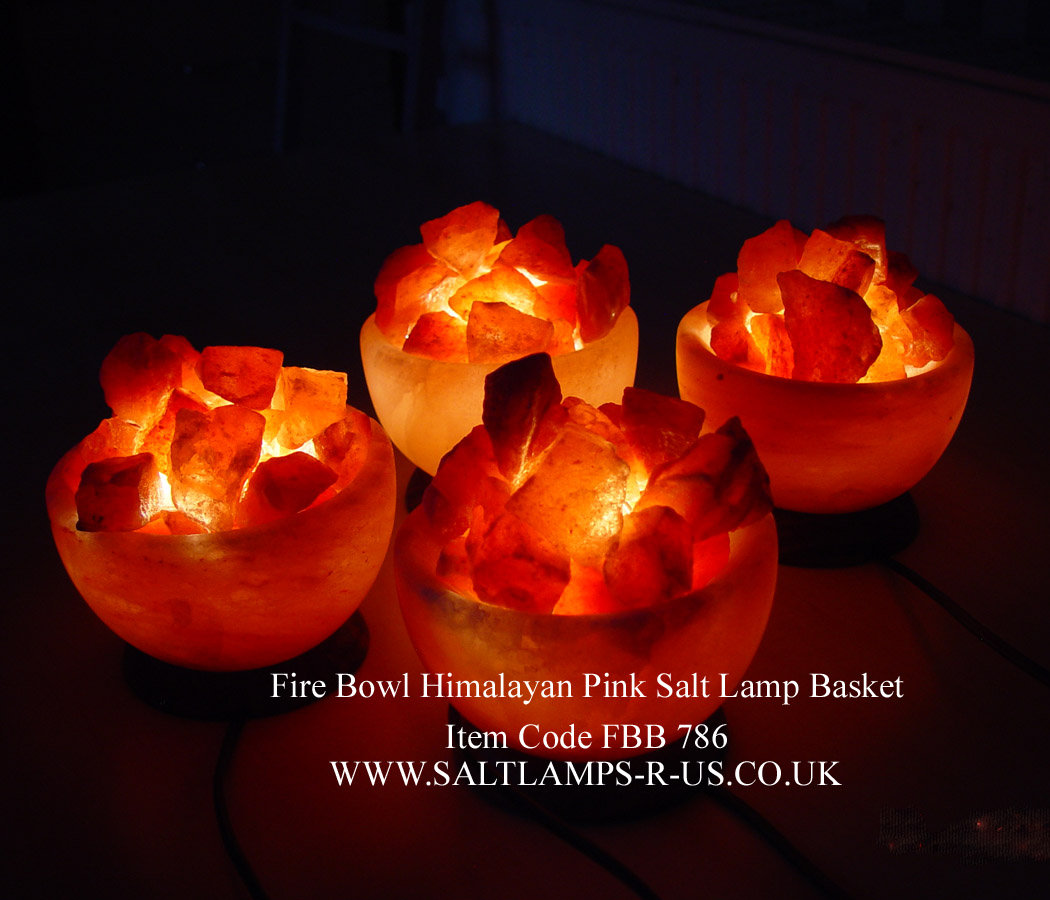 Fire Basket Salt Lamps : Fire Bowl Salt Lamp Basket Himalayan Crystal Att/Wood Base FBB786 Saltlamps-R-Us