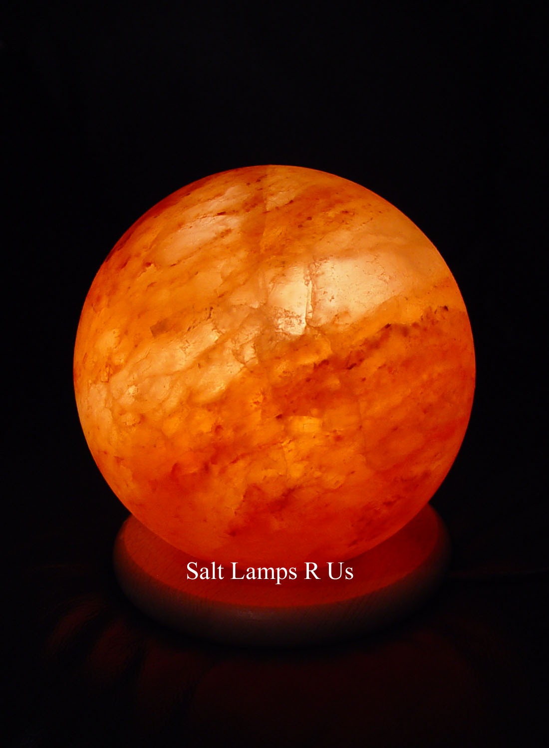 Ball Shape Salt Lamp Himalayan Rock Salt Lamp with Wood Base Saltlamps-R-Us