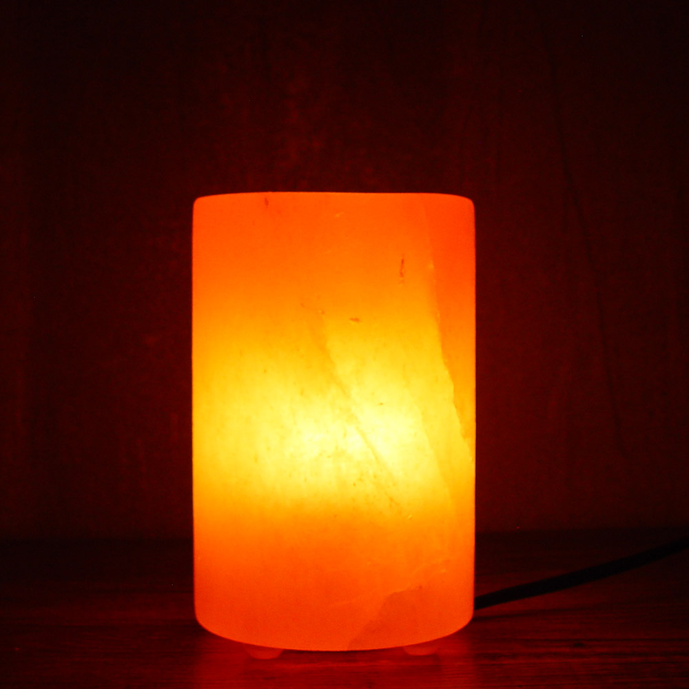 Fire Basket Salt Lamps : Salt Lamp Cylinder Shape with Plastic Feet Saltlamps-R-Us