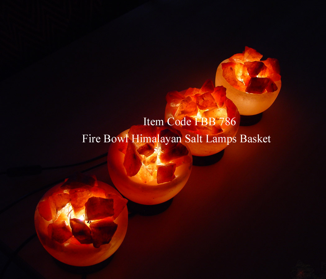 Fire Basket Salt Lamps : Fire Bowl Salt Rock Lamp Basket Himalayan Pink Crystal Att/Wood Base FBB786 Saltlamps-R-Us