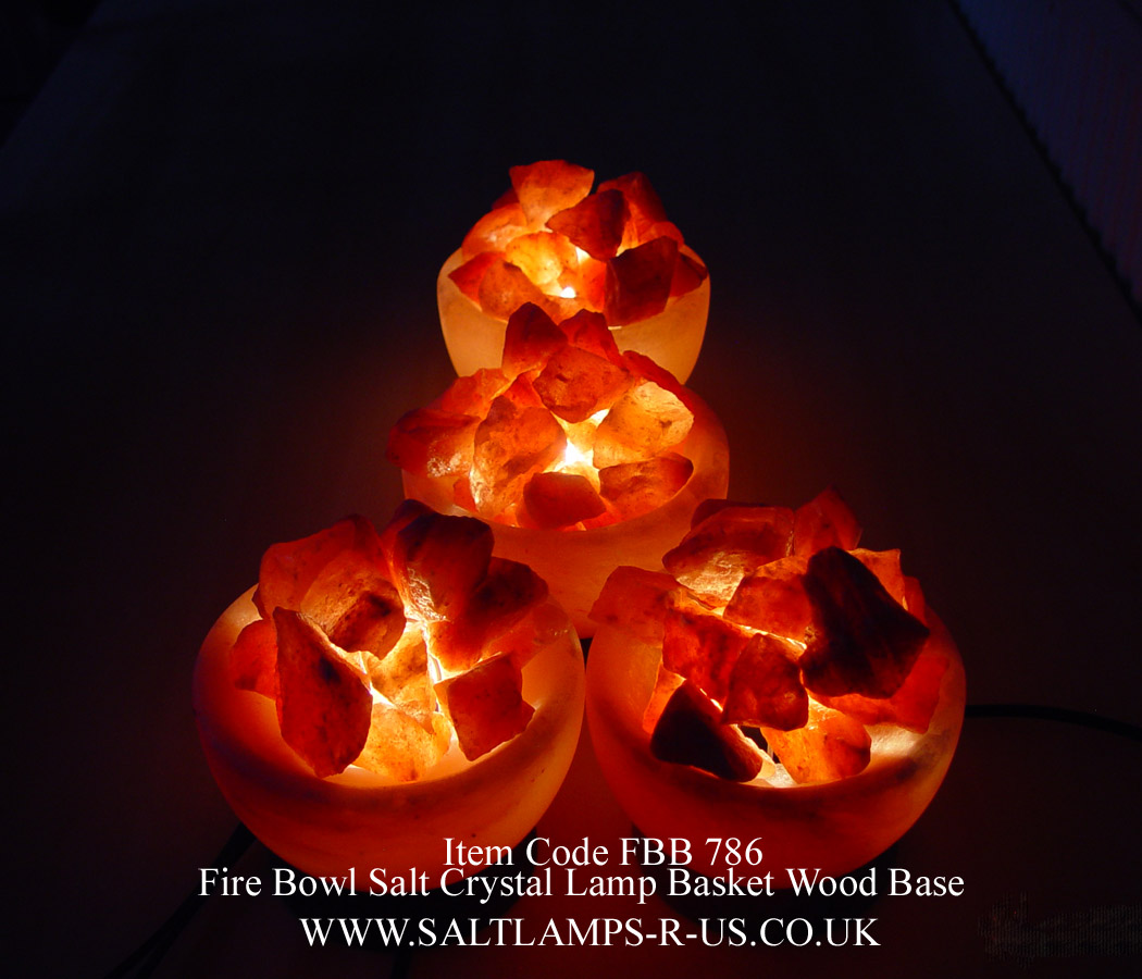 Fire Basket Salt Lamps : Fire Bowl Salt Lamp Basket Himalayan Pink Rock Crystal Att/Wood Base FBB786 Saltlamps-R-Us Co.Uk