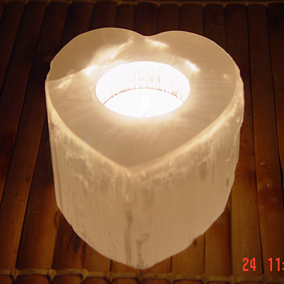 Heart Shape Selenite Candle Holder from Morocco CA00119