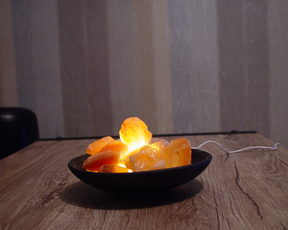 Rock Salt Lamp Himalayan Clay Bowl Basket Usb Led Light