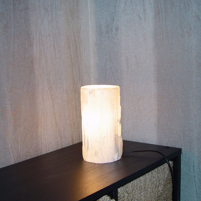 Selenite Lamp Cylinder Shape White Crystal Light With